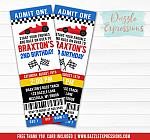 Race Car Ticket Invitation 2 - FREE thank you card