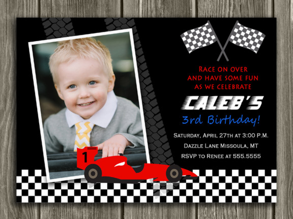 Race Car Invitation - Thank You Card Included