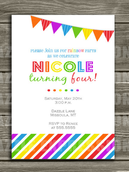 Printable Kids Rainbow Birthday Invitation FREE thank you card