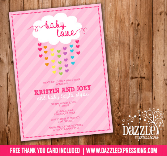 Raining Hearts Baby Shower Invitation - FREE thank you card included