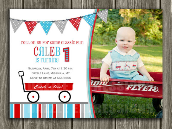 Red Wagon Birthday Invitation 1 - FREE thank you card included