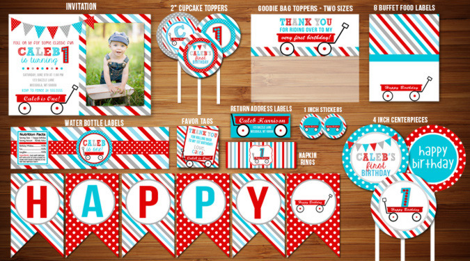 Printable Red wagon Birthday Party Package Decorations Radio – Red Wagon Birthday Invitations