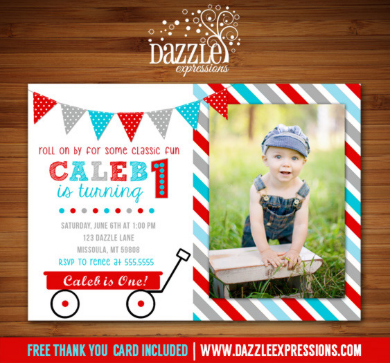 Red Wagon Birthday Invitation 2 - FREE thank you card included