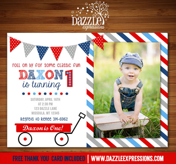 Red Wagon Birthday Invitation 3 - FREE thank you card include