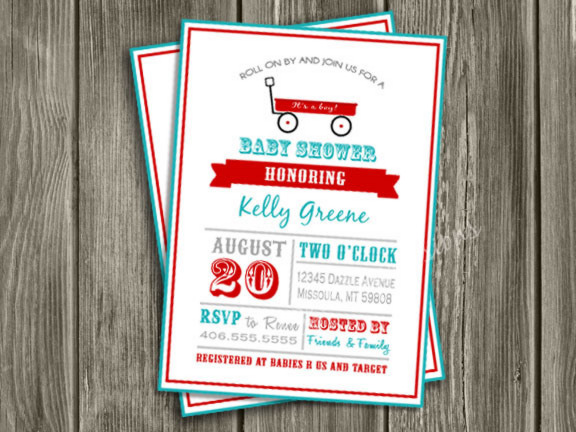 Red Wagon Baby Shower Invitation 2 - FREE thank you card included