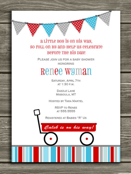 Red Wagon Baby Shower Invitation 1 - FREE thank you card included
