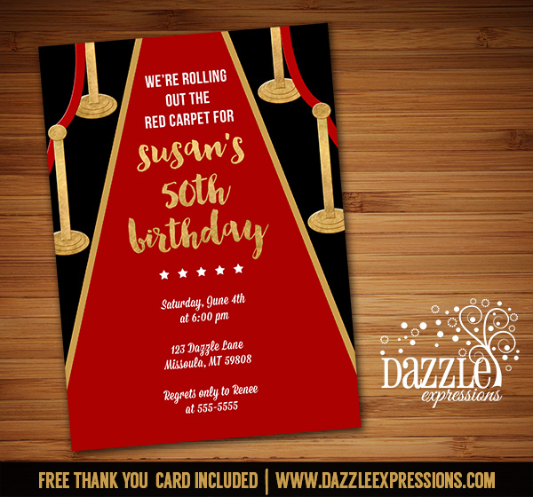 Printable hollywood red carpet birthday invitation movie night hollywood red carpet invitation free thank you card filmwisefo