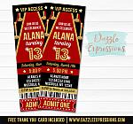 Red Carpet Ticket Invitation - FREE thank you card included