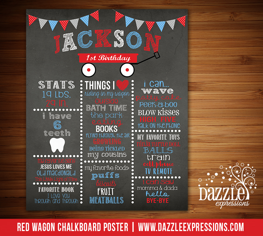 Printable Red Wagon Chalkboard Poster