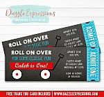 Red Wagon Chalkboard Ticket Invitation - FREE thank you card