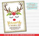 Reindeer Face Invitation - FREE thank you card included