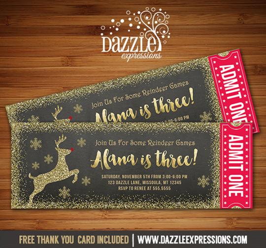 Reindeer Glitter Chalkboard Ticket Invitation - FREE thank you card