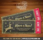 Reindeer Glitter Chalkboard Ticket Invitation - FREE thank you card