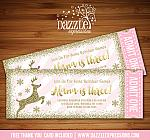Reindeer Pink and Gold Glitter Ticket Invitation - FREE thank you card