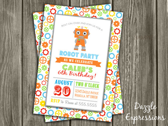 Printable Kids Robot Birthday Invitation Free Thank You Card