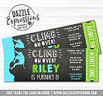 Rock Climbing Chalkboard Ticket Invitation 1 - FREE thank you card
