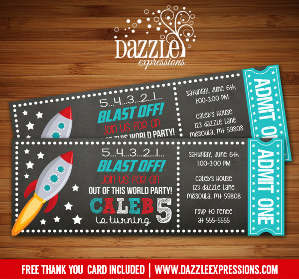 Space Rocket Ship Chalkboard Ticket Birthday Invitation - FREE thank you card included