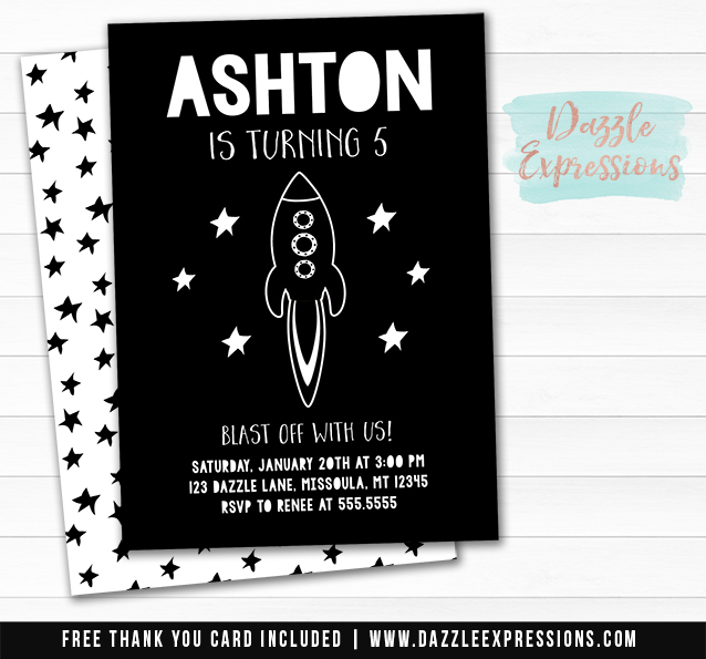 Rocket Ship Birthday Invitation - FREE thank you card included