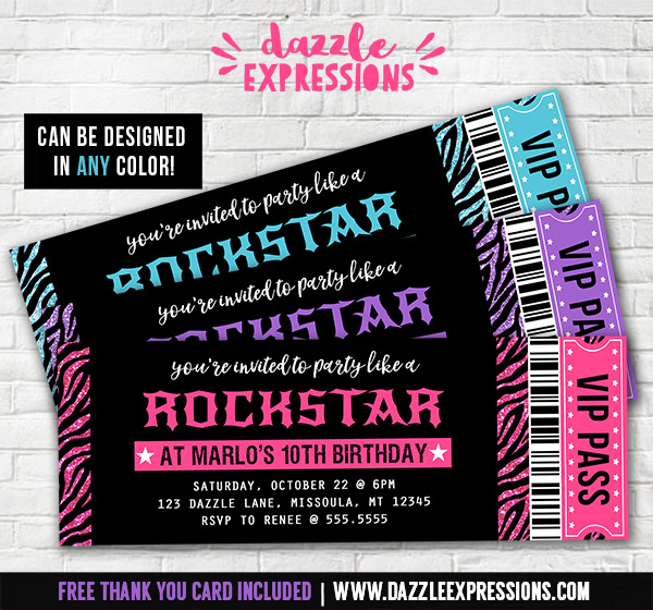Wonderful Glitter Zebra Rockstar Ticket Invitations   FREE Thank You Card Included To Concert Ticket Birthday Invitations