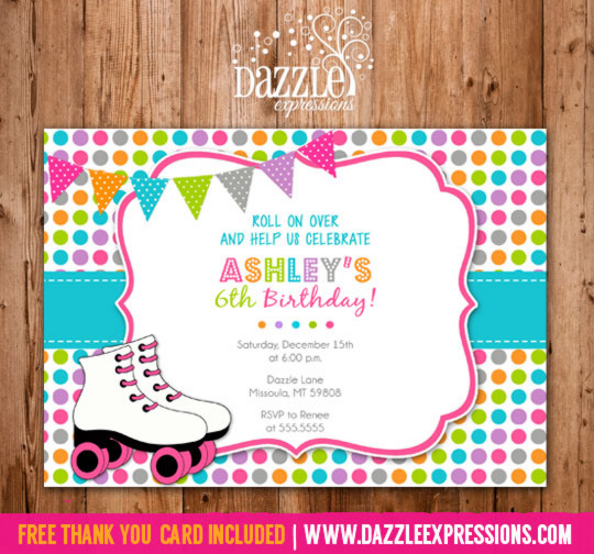 printable girl rainbow roller skating birthday invitation, Birthday invitations