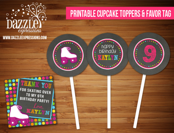 PRINTABLE Chalkboard Roller Skating Cupcake Toppers and Favor Tag