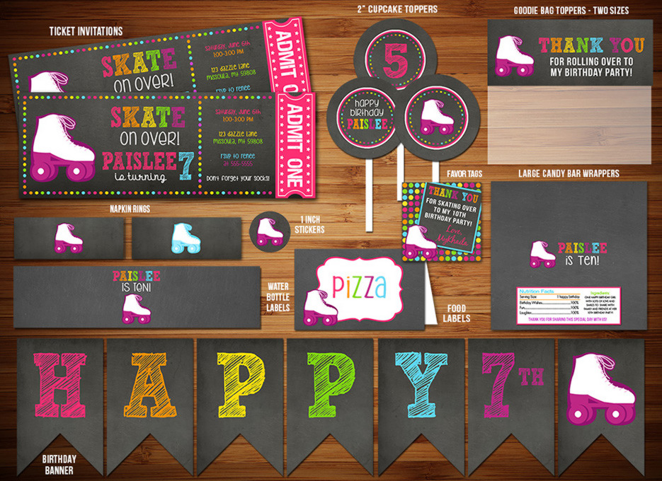 Roller Skating Chalkboard Complete Party Package