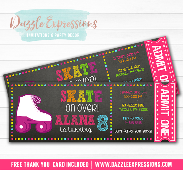 Printable Chalkboard Roller Skating Ticket Birthday Invitation – Roller Skate Birthday Invitations