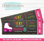 Roller Skating Chalkboard Ticket Invitation 2 - FREE thank you card included