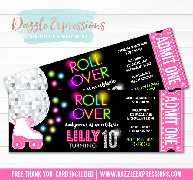 Printable Roller Skating Disco Ticket Birthday Invitation Neon