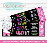 Roller Skating Disco Ticket Invitation - FREE thank you card
