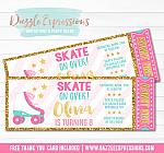 Roller Skating Ticket Invitation 1 - FREE thank you card included