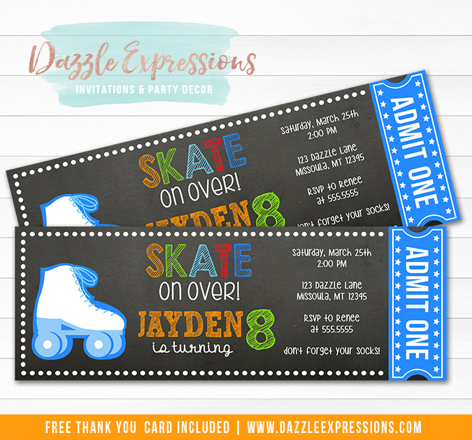 Roller Skating Chalkboard Ticket Invitation 1 - FREE thank you card included
