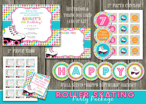 Roller Skating Complete Party Package - Printable