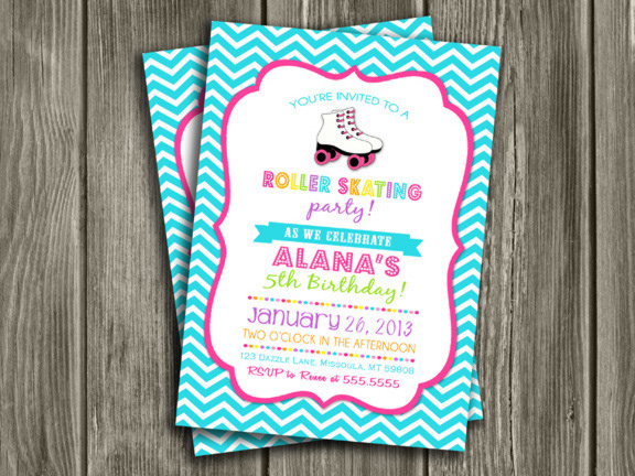 Printable Roller Skating Birthday Invitation Girl Disco Party – Roller Skate Birthday Invitations