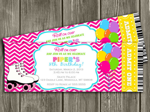 roller skating ticket birthday party invitation  pink chevron, Birthday invitations