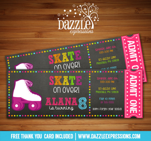 Printable Chalkboard Roller Skating Ticket Birthday ...