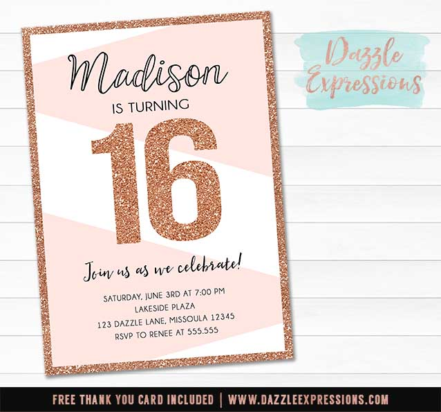 When Do You Send Out Wedding Invitations: Printable Rose Gold Or Copper Glitter Birthday Invitation