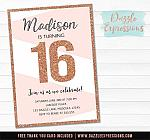 Rose Gold Glitter Birthday Invitation - FREE thank you card