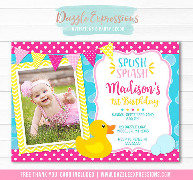 Printable Rubber Duck Birthday Invitation Girls 1st Birthday Party