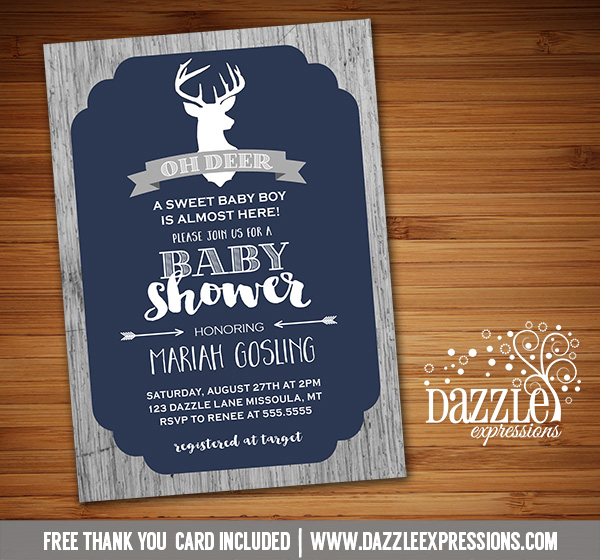 Printable rustic oh deer baby shower invitation wood free thank rustic deer baby shower invitation free thank you card included filmwisefo Gallery
