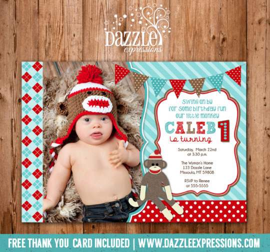 Sock Monkey Birthday Invitation 2 - FREE thank you card included