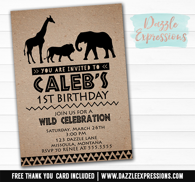 Printable African Safari Animal Birthday Invitation