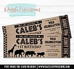 Safari Animal Ticket Invitation - FREE thank you card