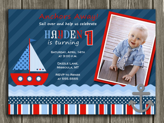 Sailboat Birthday Invitation 1 - Thank You Card Included