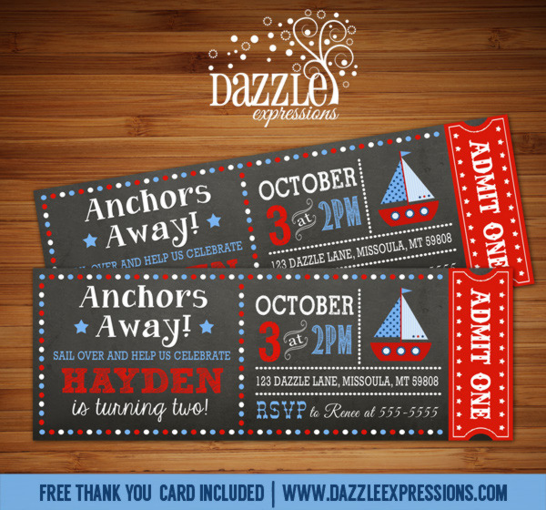 Sailboat Chalkboard Ticket Birthday Invitation - FREE thank you card