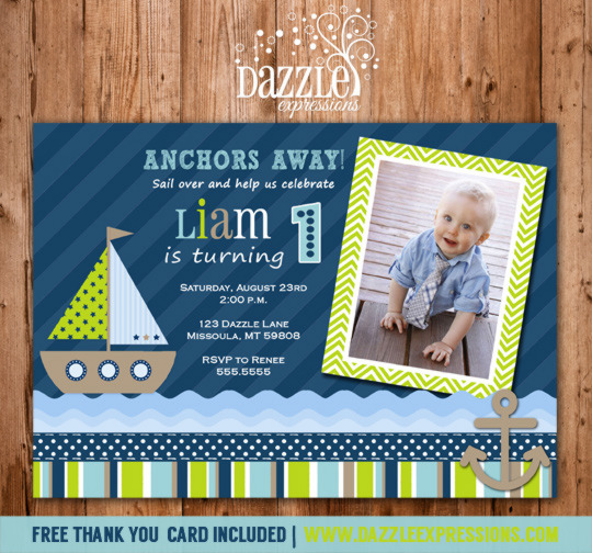 Sailboat Birthday Invitation 2 - FREE thank you card included