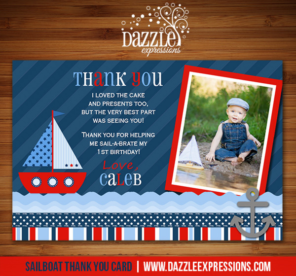 Sailboat Thank You Card - Printable