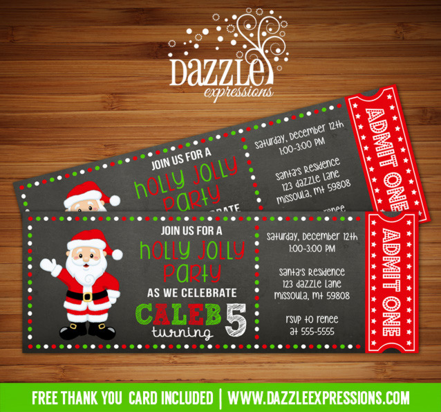 Santa Chalkboard Ticket Birthday Invitation - FREE thank you card included