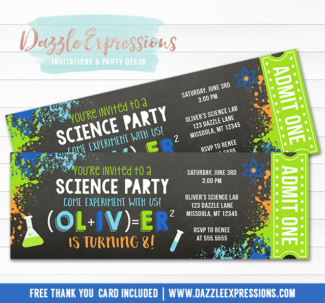 printable science chalkboard ticket birthday invitation - science experiment