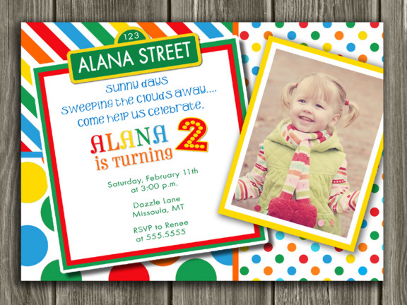 Colorful Street Sign Birthday Invitation 6 - Thank You Card included